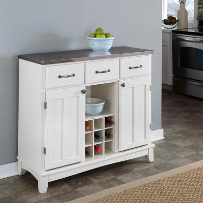 Home Styles White and Stainless Steel Buffet with Wine Storage-5100-0023 - The Home Depot