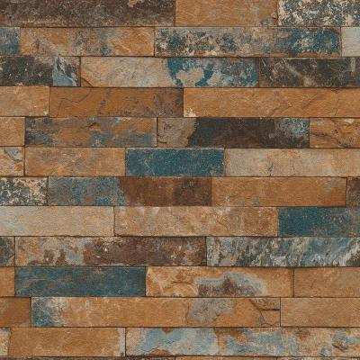 Washington Wallcoverings Multi Colored Faux Tile Vinyl Wallpaper-475104 - The Home Depot