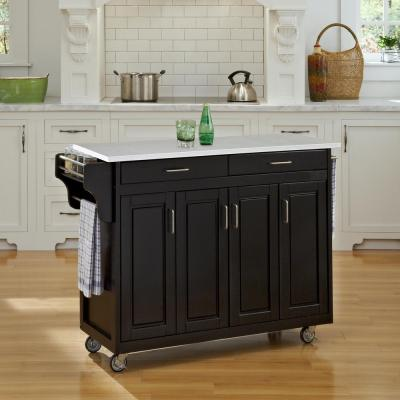 Home Styles Monarch Black Kitchen Island With Seating-5009 ...