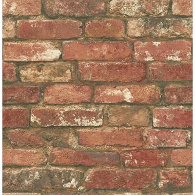 NuWallpaper Red West End Brick Peel and Stick Wallpaper-NU2088 - The Home Depot