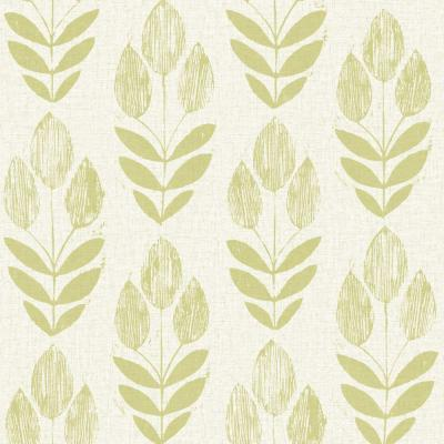 Beacon House Scandinavian Green Block Print Tulip Wallpaper Sample-2535-20649SAM - The Home Depot