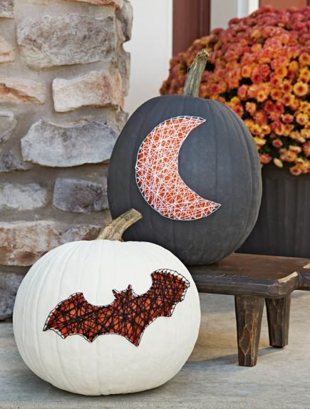 Easy No Carve Pumpkin Decorating   Midwest Living Spooky String