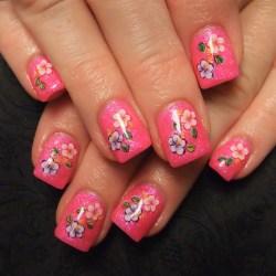 Day 56 Pink Flower Nail Art Nails Magazine