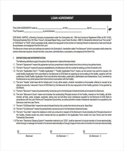 Loan Agreement Form Template