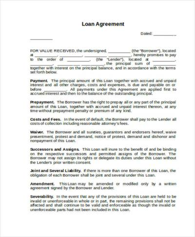 Loan Agreement Form Word