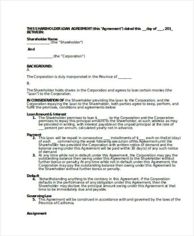 Loan Agreement Form Template