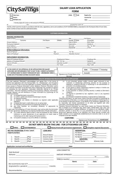 3+ Bank Loan Application Form and Checklist Form - PDF