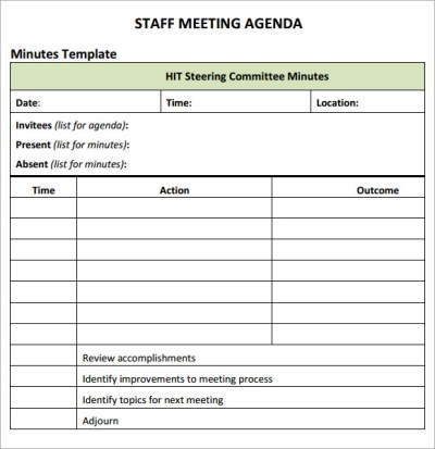 Staff Meeting Agenda - 7 Free Download for PDF
