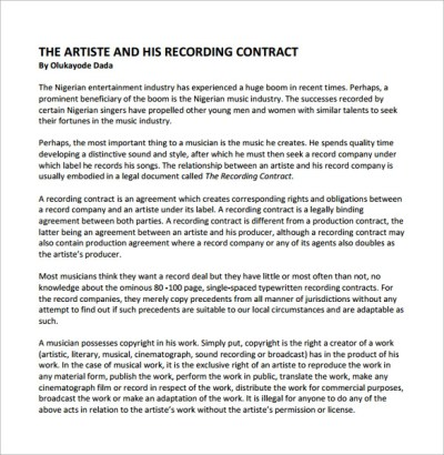 Recording Contract Template - 11+ Download Documents in PDF, Word, Google Docs