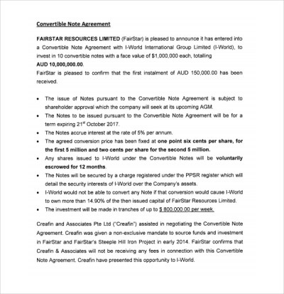 Sample Convertible Note Agreement - 9+ Free Documents Download in PDF, Word