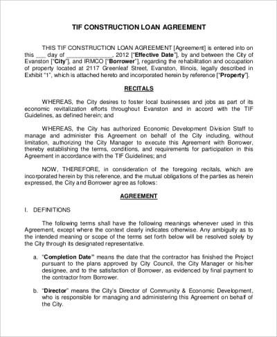 8+ Sample Construction Loan Agreements – PDF, Word   Sample Templates