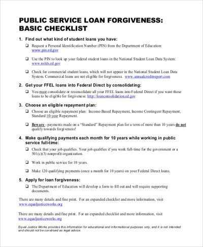 6+ Sample Public Service Loan Forgiveness Forms | Sample Templates
