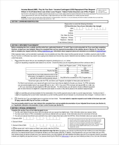 Sample Income Based Repayment Form - 6+ Examples in PDF