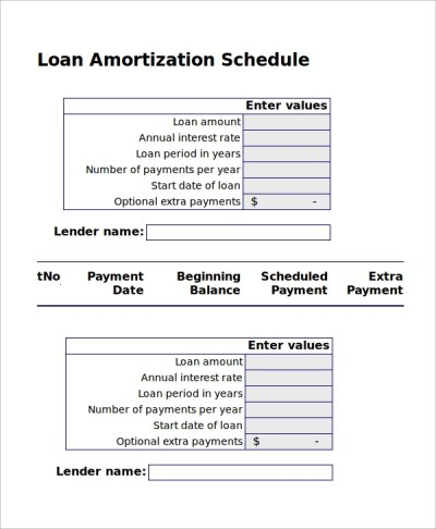 8+ Excel Amortization Schedule Samples | Sample Templates