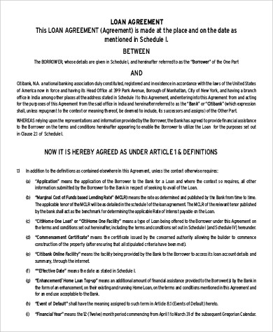 Sample Personal Loan Agreement - 10+ Examples in Word, PDF