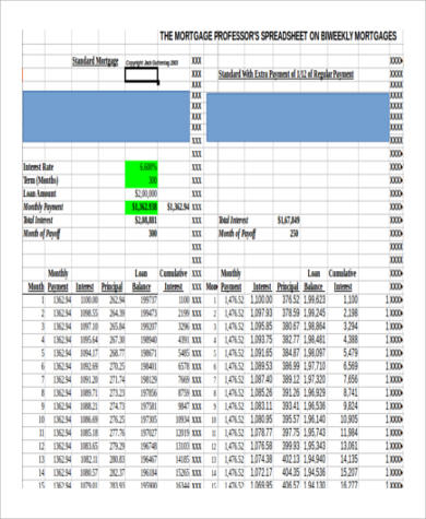 6+ Mortgage Payment Calculator Extra Payment Samples | Sample Templates
