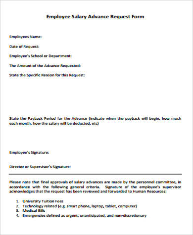 Sample Employee Advance Form - 8+ Examples in Word, PDF