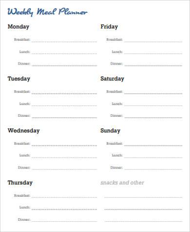 7+ Free Printable Weekly Planner Samples | Sample Templates
