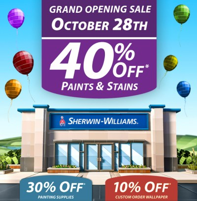 Sherwin-Williams Grand Opening Sale August 5th