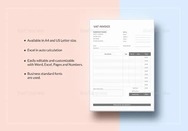 Invoice Format Template   50  Free Word  PDF Documents Download     VAT Invoice Template to Print