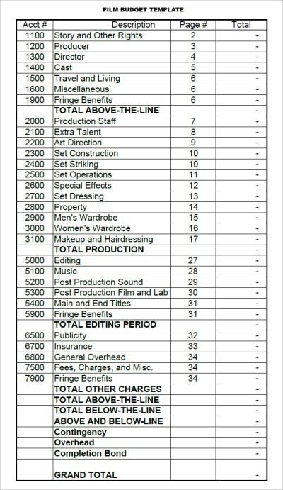 Film Budget Template - 9+ Free PDF, Excel Downloads Download   Free & Premium Templates