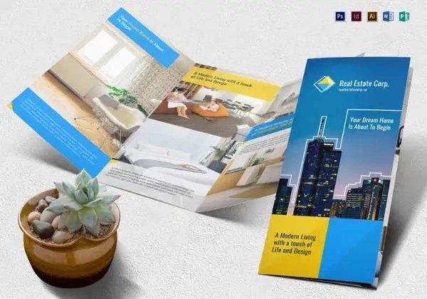 20  Real Estate Brochures     Free PSD  EPS  Word  PDF  InDesign     PSD and InDesign Real Estate Brochure Template
