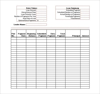 Amortization Schedule Template - 6+ Free Sample, Example Format Download! | Free & Premium Templates