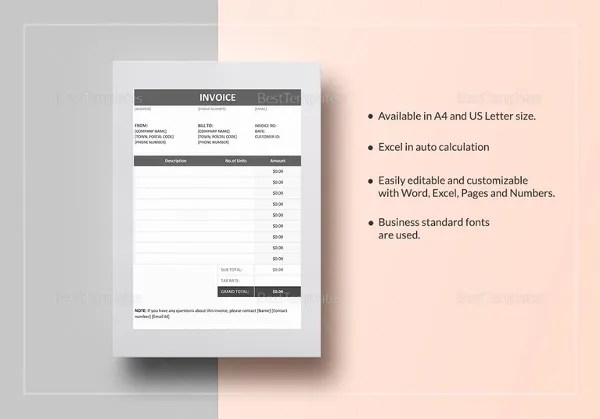 Invoice Template   53  Free Word  Excel  PDF  PSD Format Download     Invoice Example in Word