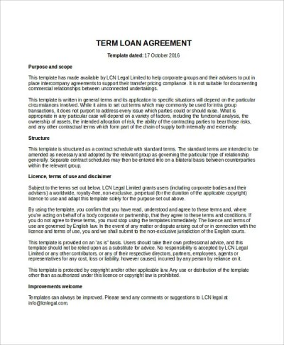 Loan Agreement Template - 17+ Free Word, PDF Document Download | Free & Premium Templates