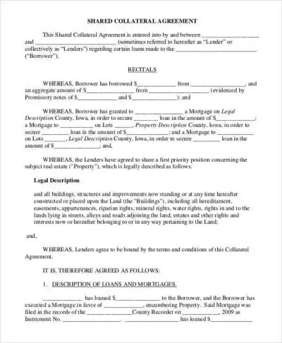 10 Collateral Agreement Templates - Free Sample ,Example Format Download | Free & Premium Templates