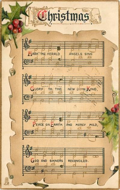 CHRISTMAS HARK! music notation, holly - TuckDB Postcards
