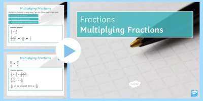 Multiplying Fractions PowerPoint - Mixed Number Improper Simplify Simplest