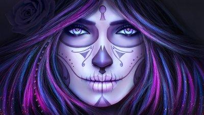 Dia de Los Muertos (Day of the Dead) Make-Up HD Wallpaper | Background Image | 1920x1080 | ID ...
