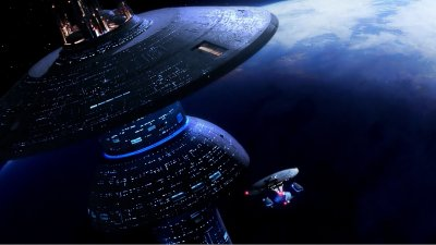 Starbase One Earth And The Enterprise D HD Wallpaper | Background Image | 1920x1080 | ID:636551 ...