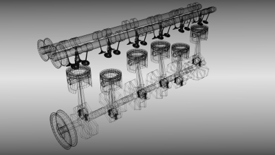 Animated six cylinder engine 3D Model .fbx .blend - CGTrader.com