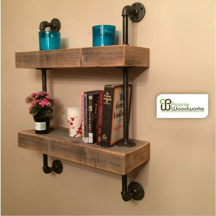 Industrial Reclaimed Barn Wood Floating Shelves Mounted With