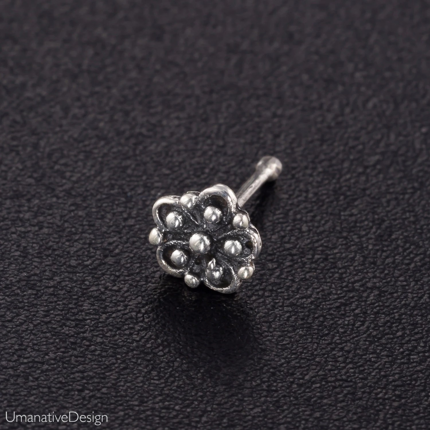 Silver Flower Nose Stud Silver Nose Jewelry Flower Nose