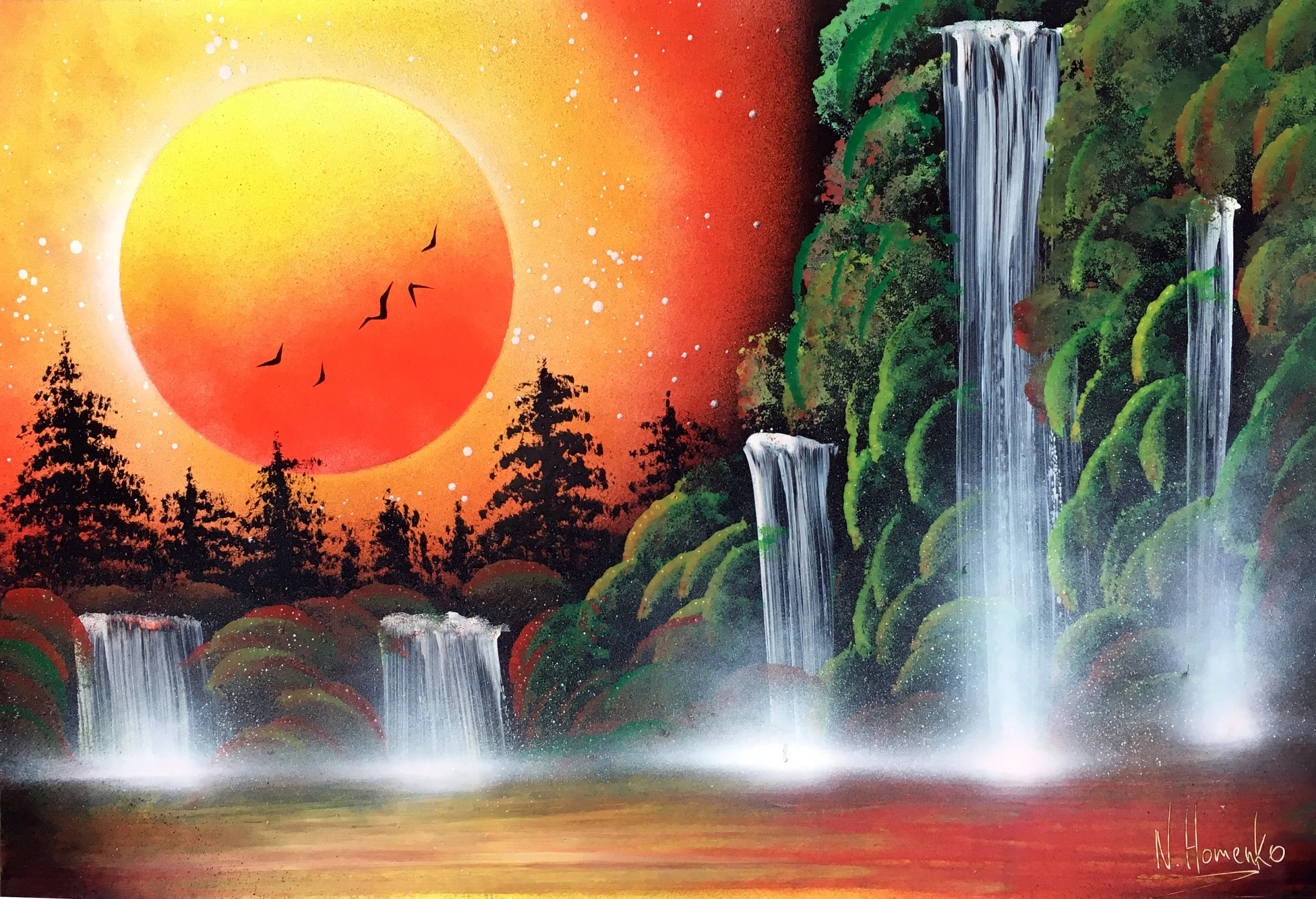 Orange picture Waterfall painting Spray paint Landscape