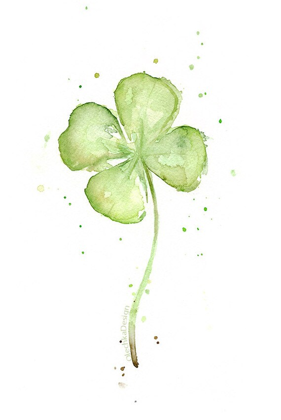 Four Leaf Clover Watercolor Art Print of Painting Plants St