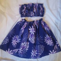 9 10 Hula Girl Outfit Costume Skirt and Top Purple White