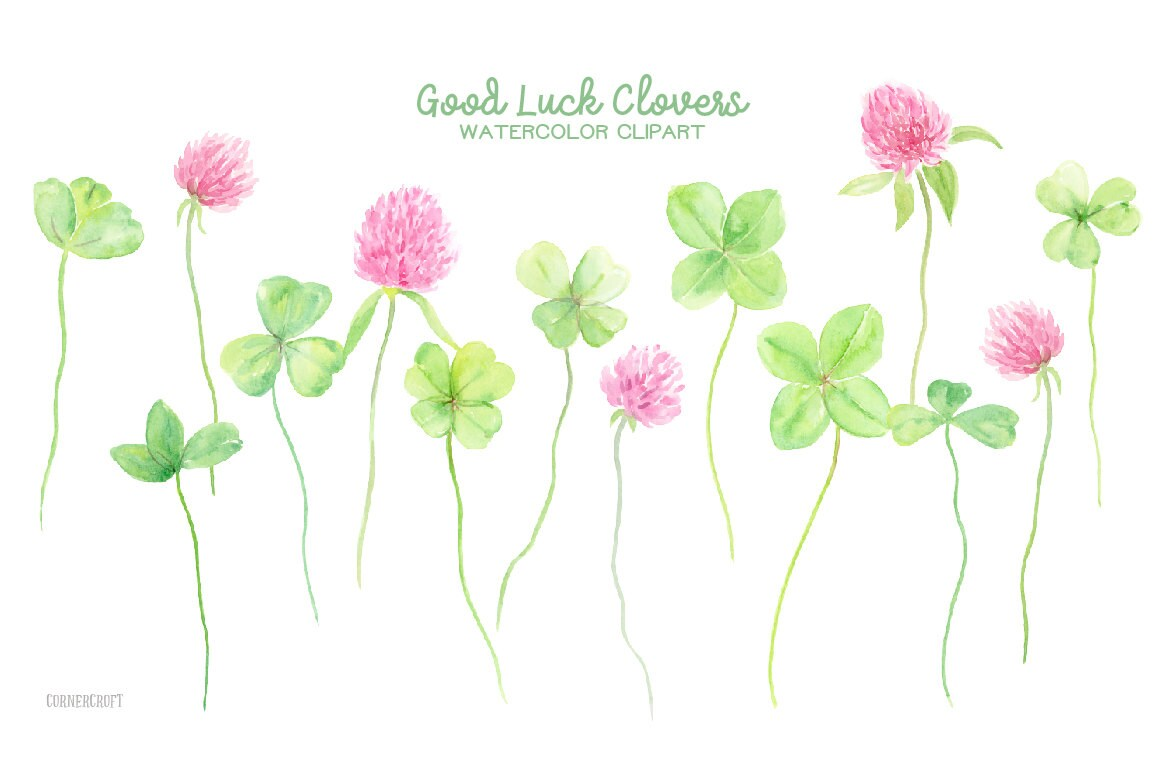 Watercolor Clipart Good Luck Clovers 4 Leaf Clovers 3 Leaf