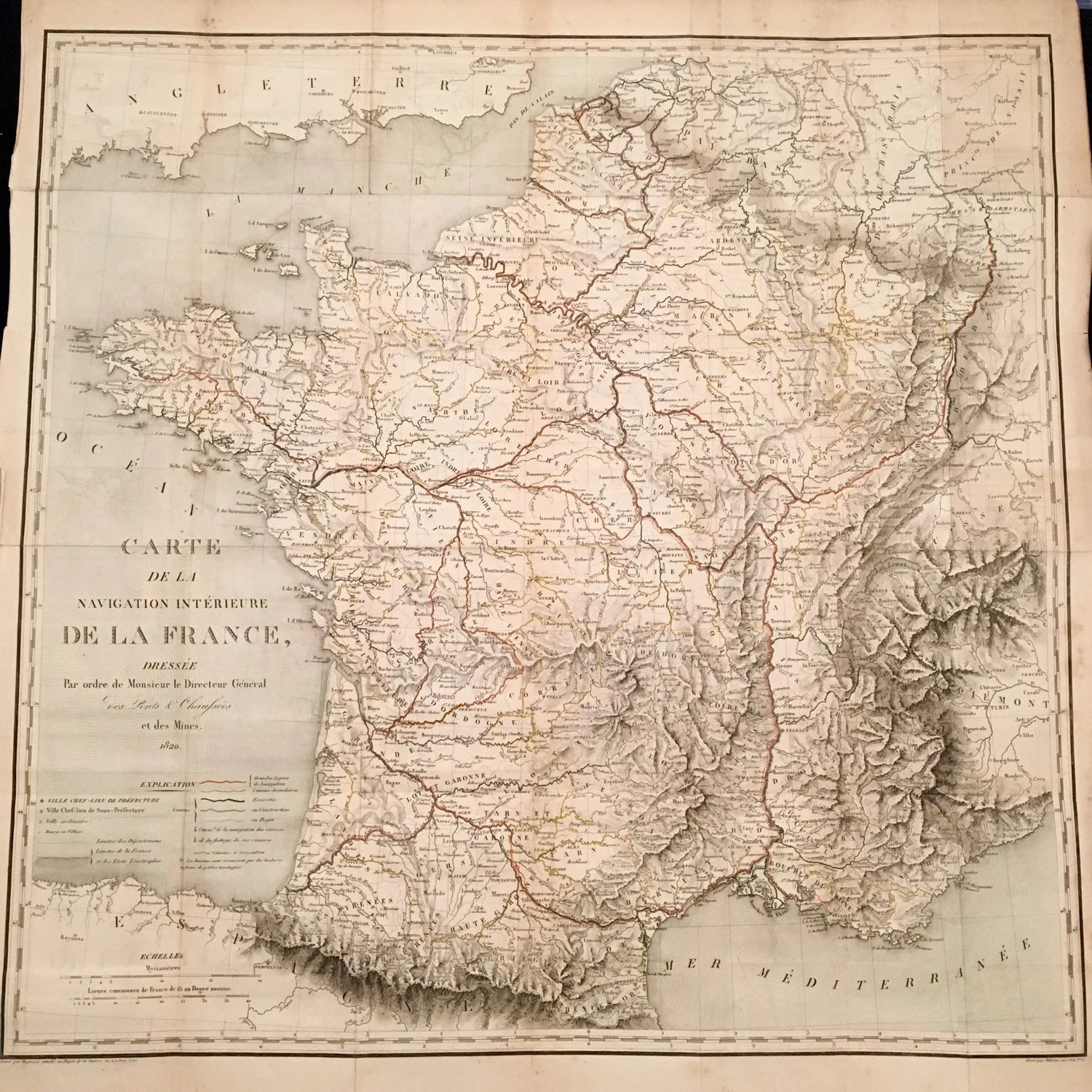 Rare 1820 XL Map of France Physical and Topographical Map of