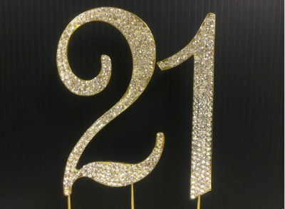 Rhinestone Gold NUMBER 21 Cake Topper 21 Birthday Parties
