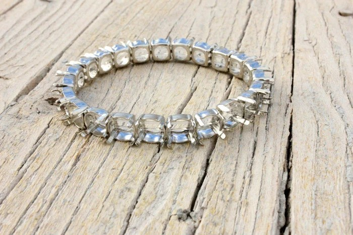 Diy Blank Silver Bracelet With Ss39 8mm Platinum Settings Sew