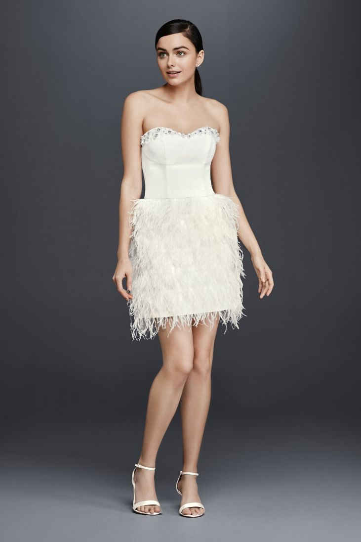 short wedding dresses wedding dress with feathers Top 30 of the Best Short Wedding Dresses