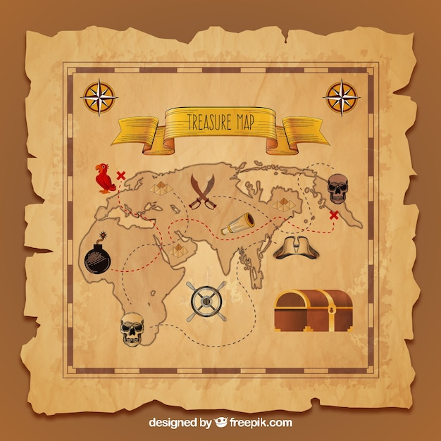 Treasure Map Vectors  Photos and PSD files   Free Download Vintage treasure map in realistic design