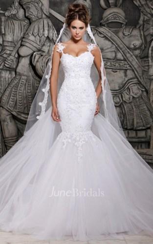 cheap wedding dresses short cheap wedding dresses Magnificent Tulle Mermaid Lace Wedding Dress with Wedding Veil