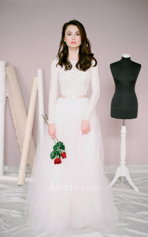 modest wedding dresses lds wedding dresses Modest Jewel Neck Long Sleeve A Line Tulle Wedding Dress