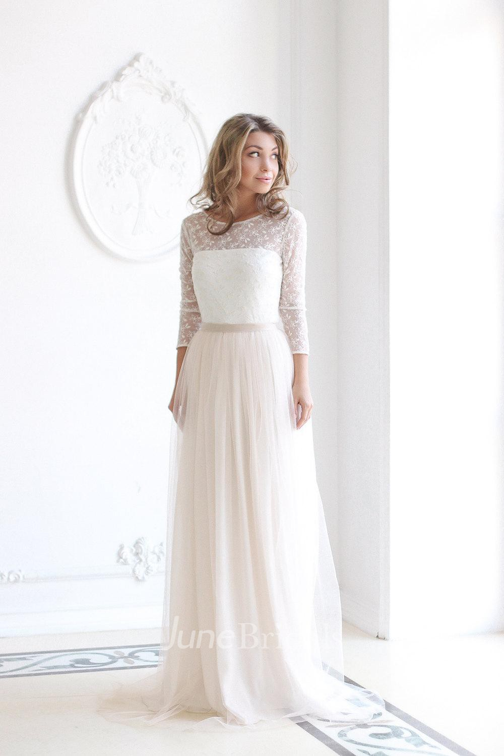 modest wedding dresses lds wedding dresses Scoop Neck Long Sleeve Tulle Wedding Dress With Lace Bodice