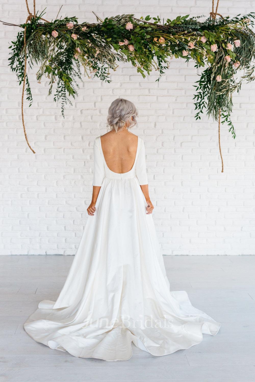 cheap wedding dresses clearance wedding dresses Modern Simple Long Sleeve A Line Satin Wedding Dress With Open Back